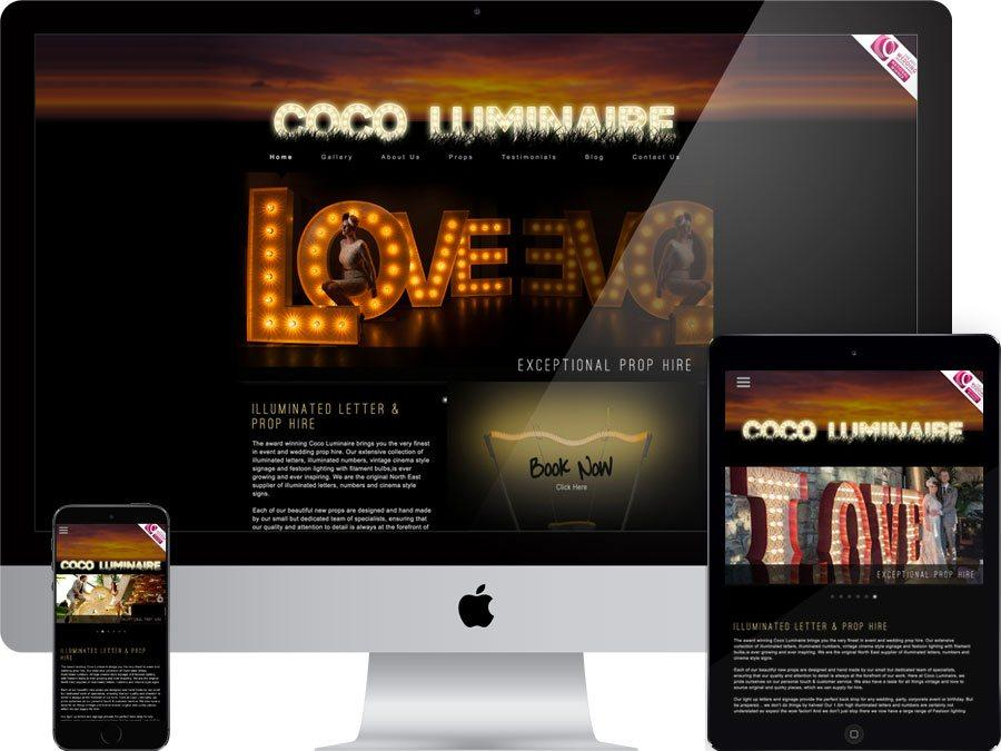Illuminated letter and prop hire website designed by tr10.com that is accessible on all digital platforms including mobile devices
