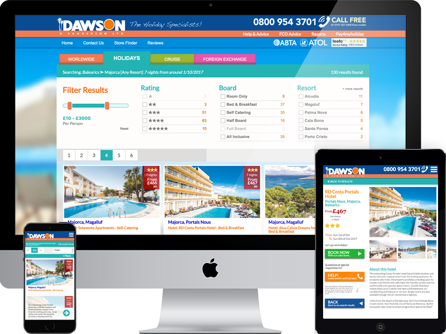 Holiday booking website and search aggregator
