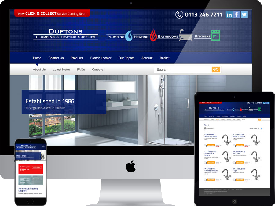 Plumbing and heating supplies website designed by tr10.com that is accessible on all digital platforms including mobile devices