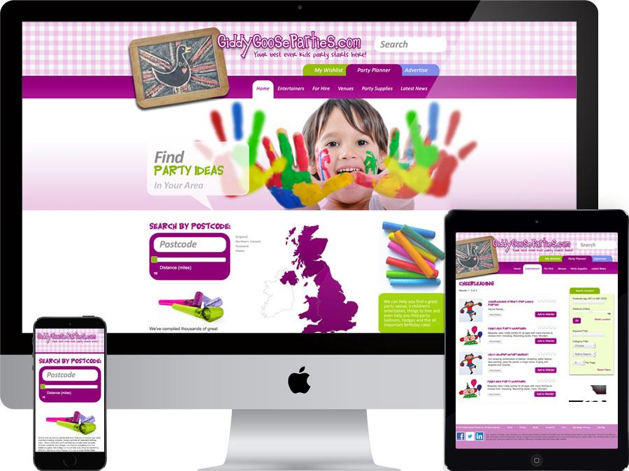 Children's party listings website designed by tr10.com that is accessible on all digital platforms including mobile devices